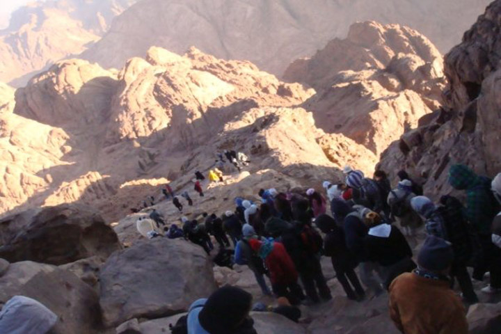 Hiking up Mount Sinai